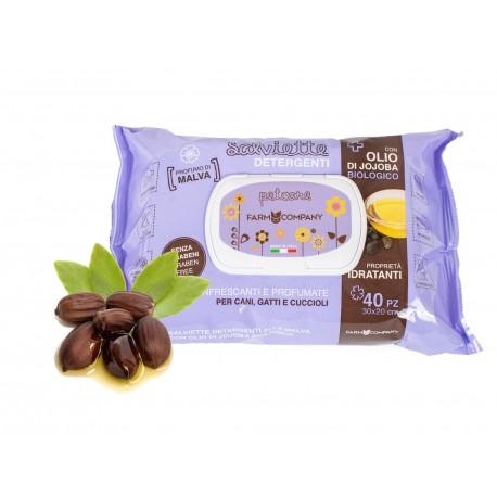Farmcompany Salviette Olio Biologico di Jojoba e Malva 40 pz